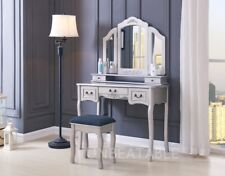 Dressing Table Set White Ivory Black Silver Stool Large 3 Panel Mirror Bedroom