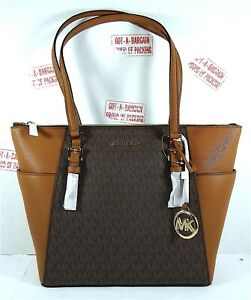 Michael Kors Charlotte East West Large Top Zip MK Signature Leather Tote
