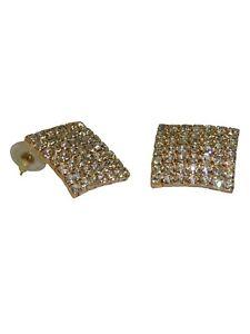 NEW (6140-14) Large Square Reem Diamante Earrings Gold