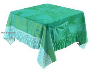Jacquard Woven Coated Tablecloth Balata Palm Trees Tropical Green 63X63 France