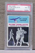1961 Fleer Basketball #58 Clyde Lovellette In Action PSA 8 - St. Louis Hawks