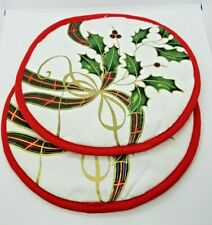 Set of 2 NEW Lenox Holiday Nouveau Pot Holders Cotton Merry Christmas