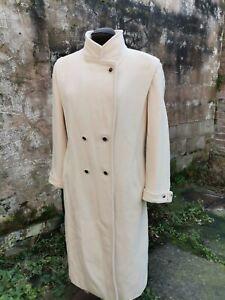 Vtg 80s 30s Style Mackintosh Ivory Pure Wool Military Style Long Coat. 8/10