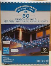 Set of 60 Blue/White Random Twinkle LED Icicle Christmas Lights, White Wire 9ft