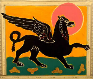 GRIFFIN Raw Folk Art Brut Painting Outsider T. Marie Nolan Original Vision Myth