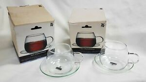 NEW WMF Set of 2 Clear Glass Tea Cups and Saucers