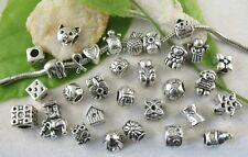 30 Mixed Style Tibetan Silver Beads fit Charm Bracelet