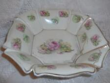 Antique LG.Hand-Painted Nippon Porcelain Pink Roses & Beaded Gilt Octagon Bowl