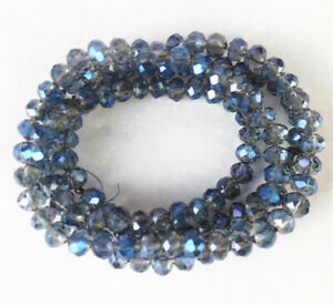 """1 Strand 4x3mm Gray Blue Crystal Glass Faceted Wheel Spacer Beads 15.5"""" BB4670&"""