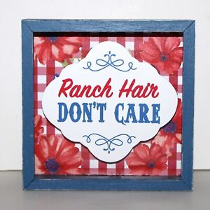 Pioneer Woman sign Ranch Hair Don't Care wood 6 x 6 country decor farm style