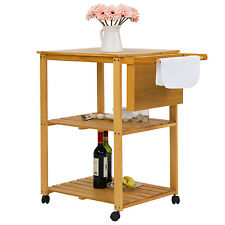 Rolling Wood Kitchen Trolley Cart Dining Storage  Stand Shelves w/Cutting Board