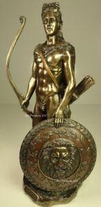 APOLLO GOD OF SUN W/ BOW GREEK MYTHOLOGY Statue Bronze Finish semi nude male