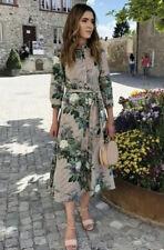 New Zara Tunic Shirt Dress Green Leaf and Floral Design UK Medium 10/12 Rare