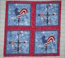 ROOSTER WEATHERVANE 4 Pillow Squares Patriotic Flag ~ Cheater Quilt Fabric Panel