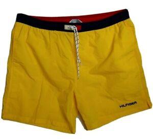 Tommy Hilfiger Men L Large Yellow Athletics Logo Vintage Swim Shorts Trunks