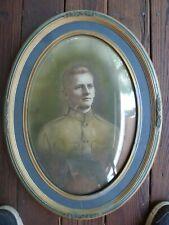 WW1 Army Portrait Antique Photograph Tinted Convex Bubble Glass  Frame