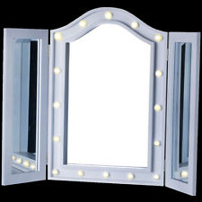 LED TRIPLE MIRROR VANITY DRESSING TABLE COSMETIC MAKEUP BEDROOM BEAUTY LIGHT BOX