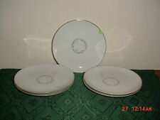 """5-PC KAYSONS """"GOLDEN FANTASY"""" 6 1/2"""" BREAD-SERVING PLATES/WHITE-SILVER/FREE SHIP"""