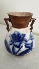 LILY Pattern Flow Blue Vase with Handles, Art Nouveau Period