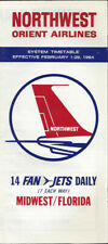 Northwest Orient Airlines system timetable 2/1/64 [0112]