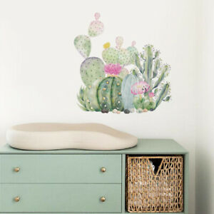Removable Wall Stickers Nursery Watercolour Cactus Cacti Flowers Decor DIY AU