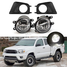 LED For Toyota Tacoma 2012-2015 Clear Fog Lights Cover Bezel Bumper Driving Lamp