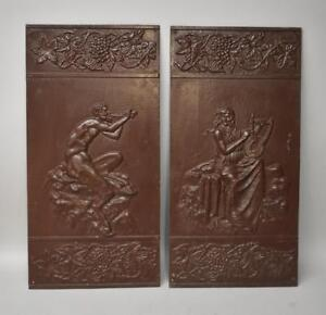 Antique Victorian Pair Iron Wall Panels Pan With Flute Grape Vine Buschemeye N.Y