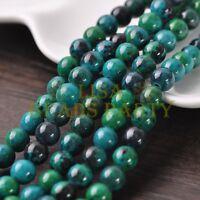 30pcs 8mm Round Stone Loose Gemstone Beads Green Chrysocolla Jewelry Findings