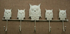 Cream Metal 5 Owls on Branch Coat Hook Vintage Chic Country Shabby Rustic Hall