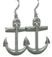 PEWTER ANCHOR DANGLE EARRINGS (D015)
