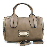 Women Handbag Leather Satchel Tote Bag Shoulder Bag Medium Purse Beige