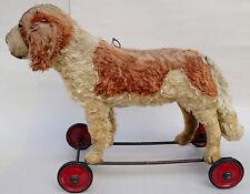 Steiff c1930s St Bernard Bernhard Mohair Dog Iron Wheels 43 cm ID button AS IS