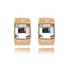 18K Gold Plated Made With Swarovski Crystal Square Cut Half Hoop Stud Earrings