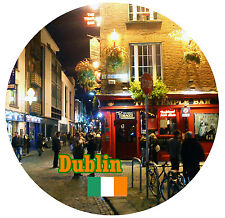 DUBLIN, IRELAND - FLAG / SIGHTS - ROUND SOUVENIR FRIDGE MAGNET - GIFTS - NEW