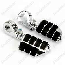 """Chrome Motorcycle Billet Foot Pegs Mount Clamp For 1 1/2"""" Engine Highway Guard"""