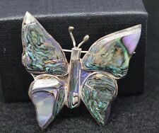 """Sterling Silver Abalone Shell Butterfly Brooch/Pin 1 1/2"""" long"""