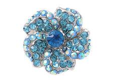 Blue Flower Crystal Rhinestone Hand Finger Fashionable Custom Charm Rings