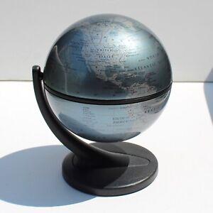 "Replogle Globe 2001 metallic blue gyroscopic 6"" tall desk decor educational toy"