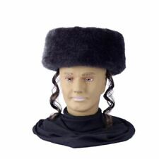 Shtreimel Hat with Payes Adult Haredi Jewish Men Russian Black Costume Accessory
