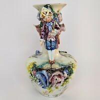 French Vase Barbotine Majolica Victorian Figural Antique Flowers Art Nouveau