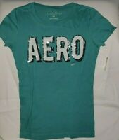 AEROPOSTALE WOMEN'S AERO LOGO GRAPHIC T-SHIRT GREEN SMALL NWT
