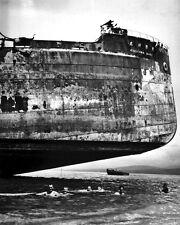 New 8x10 World War II Photo: U.S. Coast Guardsmen Swim under the KINUGAWA MARU