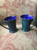 Denby Greenwich Mug x 2 - Gatsby mug, green with blue inner, glossy glaze
