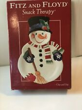 Fitz and Floyd Snack Therapy Chip & Dip Snowman Holiday Christmas Serving Dish