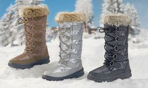 Ladies Winter Boots Fleece Lined Faux Fur Trim Snow Grip Sole Womens Sizes New