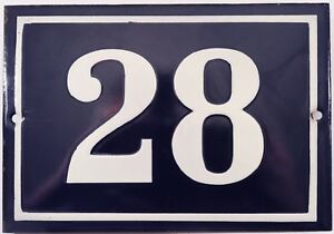 Larger old blue French house number 28 door gate plate plaque enamel metal sign
