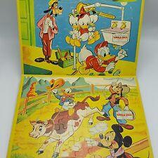 Jaymar Walt Disney Tray Puzzles Lot 2 Goofy Donald Plumber Cowboy Steer Mickey
