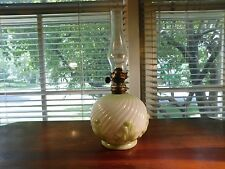 LAMP SMALL KEROSENE SWIRL MILK GLASS WITH GREEN DECORATION