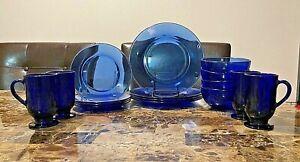 1 Set of 16 Vintage Cobalt Blue Dinner Set 4 Plates 4 Salad/Desert 4 Bowls 4 Mug
