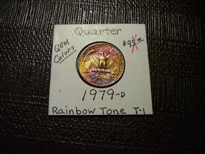 Rainbow Tone Gold/Purple Colors 1979-D  Washington Quarter  Gem  Lot  T-1